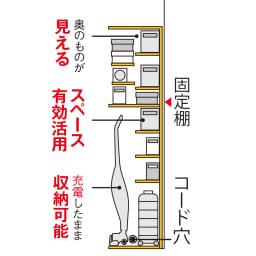 掃除機もしまえる引き戸本棚 幅80cm ハイタイプ 【見せたくない家電もおまかせ】固定棚が床上120(ミドルタイプ119)cmと高めの設計で、側板にコード穴もあるので、出しっぱなしになりがちな充電式の掃除機も配線したまま収納可能。棚板をすべて使えば、段違い棚の大量収納本棚として使用可能。
