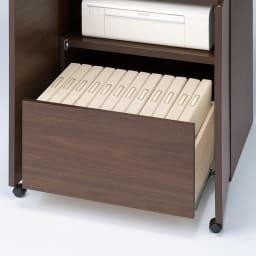天然木調プリンター収納ライティングデスクシリーズ ロータイプ・幅80.5cm A4ファイルが入る引き出しは、レール付きで開閉簡単。