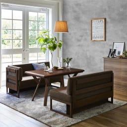 天然木ダイニングこたつテーブルシリーズ ソファ(片アーム付き) 使用例