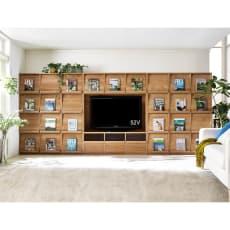 天然木調 飾る壁面収納 テレビ台 幅143cm