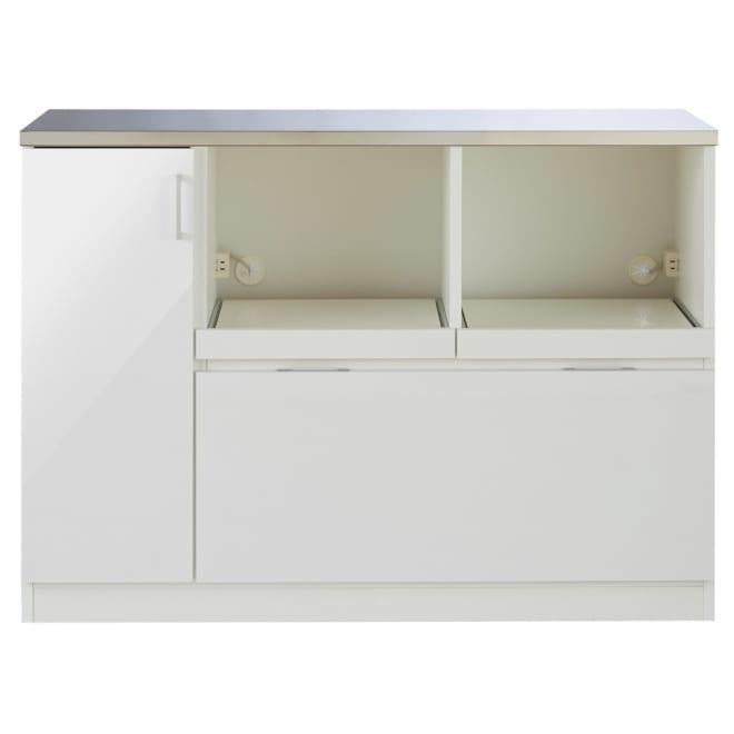 収納物で選ぶステンレスカウンター 家電×2タイプ 幅120cm つやつやとした光沢が美しいホワイトで、キッチンに清潔感をもたらします。