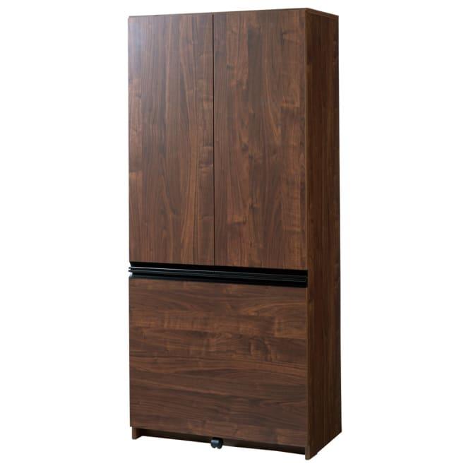 大きな引き出しキッチン収納 食器棚 幅80cm (イ)ダークブラウン