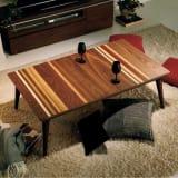 【長方形】 ミックスウッドこたつテーブル 幅120cm 奥行70cm ロータイプこたつ 写真