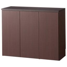 1cmピッチ&段違いで使えるハーフ棚板たっぷり収納庫 幅88高さ70cm (イ)ダークブラウン