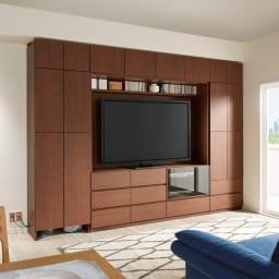 小さなリビングにきちんとおさまるコンパクト壁面収納 収納庫 テレビ台 幅120cm コーディネート例(ア)ダークブラウン ※写真は梁下高さ:212cm