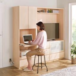 小さなリビングにきちんとおさまるコンパクト壁面収納 収納庫 テレビ台 幅120cm コーディネート例(ウ)ホワイト