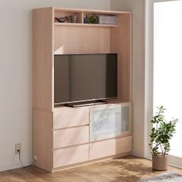 小さなリビングにきちんとおさまるコンパクト壁面収納 収納庫 テレビ台 幅140cm コーディネート例(ウ)ホワイト