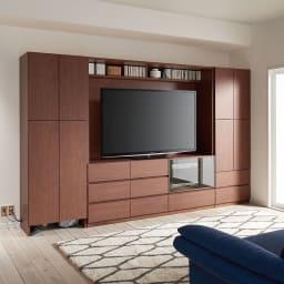 小さなリビングにきちんとおさまるコンパクト壁面収納 収納庫 テレビ台 幅170cm コーディネート例(ア)ダークブラウン