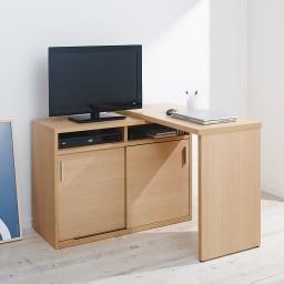 伸縮デスク&テレビ台 幅100~160cm L字の使用イメージ(ウ)ナチュラル右デスク