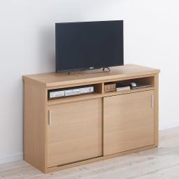伸縮デスク&テレビ台 幅120~200cm 伸縮時の使用イメージ(ウ)ナチュラル右デスク
