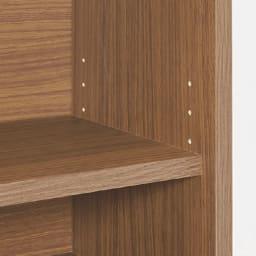 収納たっぷり!省スペースデスク幅75cm 可動棚板は3cm間隔で高さ調整可能。収納物に合わせて細かく調整できます。