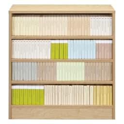 本を効率的収納!薄型段違い棚付き本棚(幅60cm高さ85cm) 文庫本が無駄なく4段入るサイズ設計です。 ※写真は幅80cmタイプです。