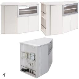 ダイニングテーブルから見やすいハイタイプテレビ台左コーナー用(左壁用) 同シリーズにある「オプションパネル」を組み合わせるとモデムやルーター、そして電源タップがまとめて収納できるので、配線がさらにすっきり隠せます。写真下は左壁用にオプションパネルを組み合わせたものです。(オプションパネルは別売りになります。)
