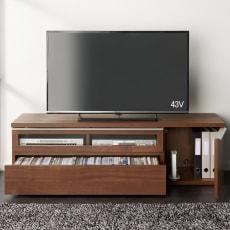 ウォルナット調テレビボード テレビ台・幅140.5高さ42cm