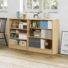 本を効率的収納!薄型段違い棚付き本棚(幅80cm高さ85cm)