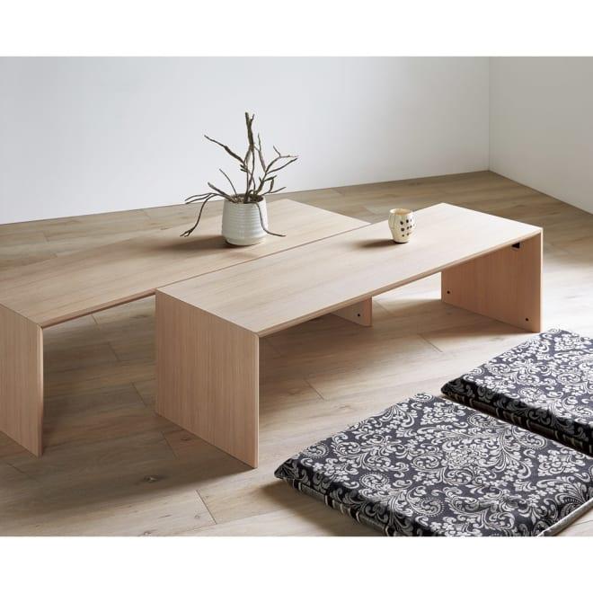 Slim スリム すっきり折りたたみ可能なリビングテーブル 幅120奥行40cm [コーディネート例]ホワイトウォッシュ×2