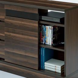 光沢引き戸テレビボード テレビ台 幅89cm 引き戸内には可動棚板1枚が付いています。