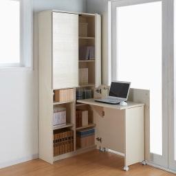 薄型折りたたみ収納デスクシリーズ 書棚付き折り畳み収納デスク 向かって右開き (ア)ホワイト(木目)