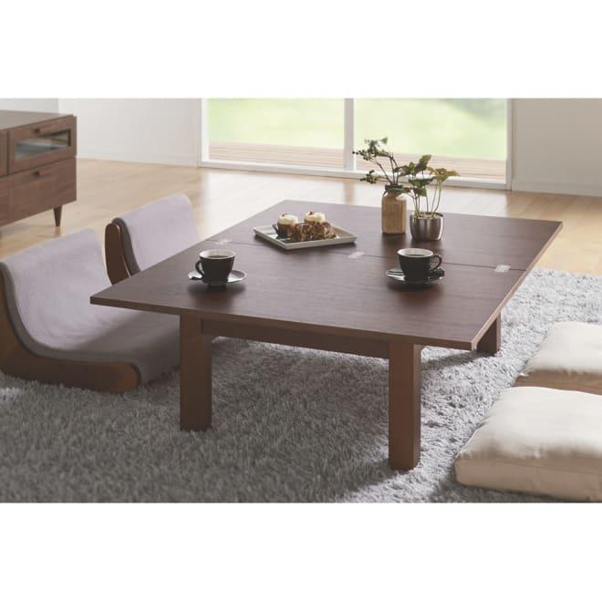 スクエアエクステンションテーブル 伸長式テーブル・ 幅90cm 使用イメージ(イ)ダークブラウン≪伸長時≫