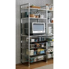 キッチンの食品ストックも収納できる  頑丈レンジラック 幅70cm