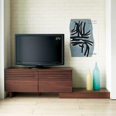 ウォルナット天然木 ギャラリーステージシリーズ テレビ台・幅105cm 台輪付き