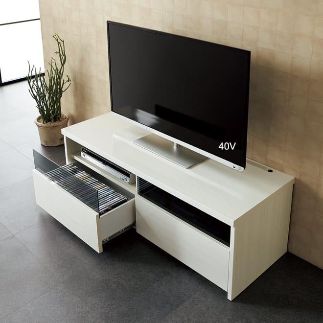 LEDステージテレビボード テレビ台 幅120cm (ア)木目柄ホワイト