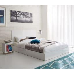 Bianco 光沢ベッド ベッドフレームのみ ホワイト