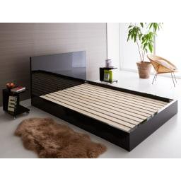Bianco 光沢ベッド ベッドフレームのみ 寝室を高級感のあるスタイリッシュな空間に。