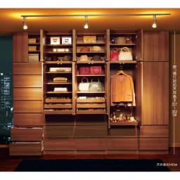 トレー収納で小物も整理 ドレスアップ薄型壁面ワードローブ ハンガー&棚 コーディネート例(ア)ブラウン