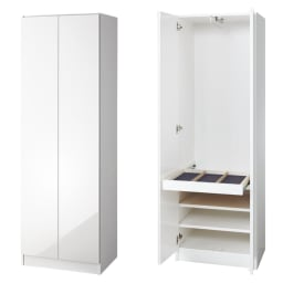 トレー収納で小物も整理 ドレスアップ薄型壁面ワードローブ ハンガー&棚 (イ)ホワイト