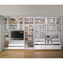 LDK壁面収納(高さ200cm) テレビ台 ミドル 幅89.5cm (オープン時)