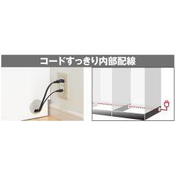 LDK壁面収納(高さ200cm) テレビ台 ミドル 幅155cm 底板または引き出しを取り外して台輪内部へ配線可能、アイテム間や電源への配線を隠せます。