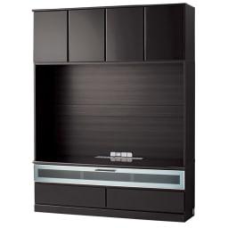 LDK壁面収納(高さ180cm) テレビ台 ハイ 幅155cm (ウ)ブラック(木目調) ※写真は幅155cmテレビ台ミドルタイプです。