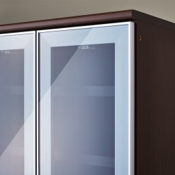 LDK壁面収納(高さ200cm) カップボード ガラス扉 幅58cm (イ)ダークブラウン(木目調)