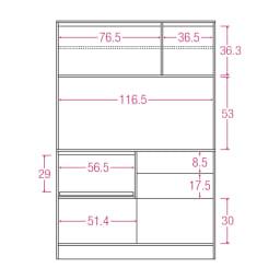 LDK壁面収納(高さ180cm) ダイニングボード 板扉 幅121cm 内寸図(単位:cm)