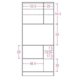 LDK壁面収納(高さ200cm) ダイニングボード ガラス扉 幅86.5cm 内寸図(単位:cm)