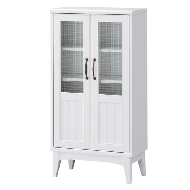 レトロ白家具シリーズ キャビネットガラス扉 うっすらと透けて見えるレトロなガラス扉が魅力です。