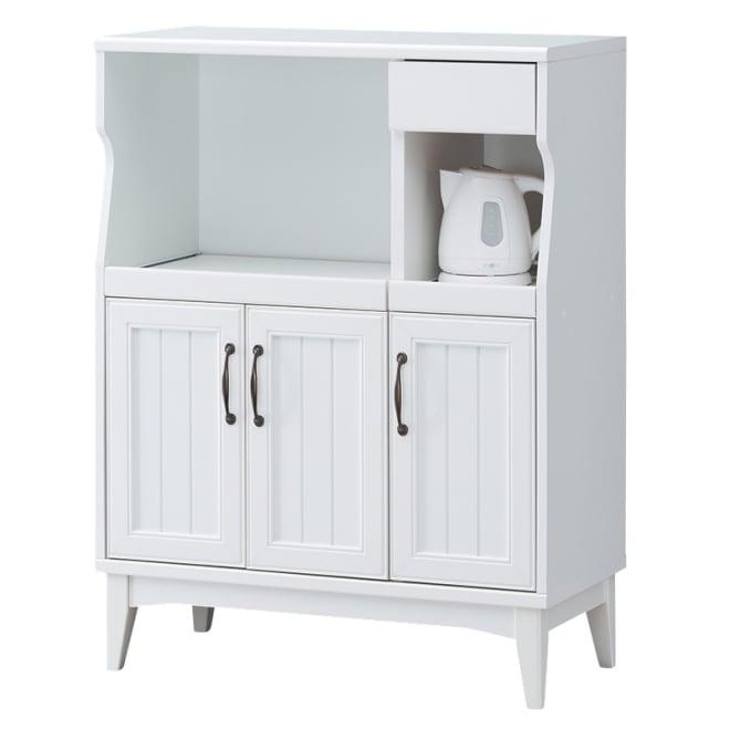 レトロ白家具シリーズ レンジ台 スライドテーブルとコンセント付きです。