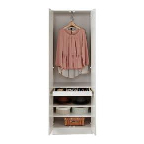 トレー収納で小物も整理 ドレスアップ薄型壁面ワードローブ ハンガー&棚 写真