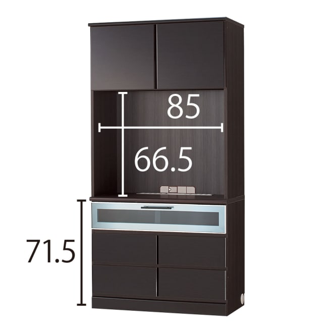 LDK壁面収納(高さ180cm) テレビ台 ハイ 幅89.5cm (ウ)ブラック(横木目調)