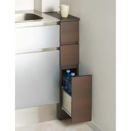 1cmピッチで幅が選べるキッチンすき間収納庫 ロータイプ高さ85cm 引き出しタイプ 【幅15~29cm】 (エ)ダークオーク ※写真は18cmです