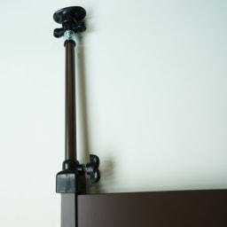 天井突っ張り壁面ディスプレイハンガーラック 幅60cm 棚付き 突っ張り伸縮部も本体と同色です。