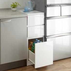 1cmピッチで幅が選べるキッチンすき間収納庫 ロータイプ高さ85cm 引き出しタイプ 【幅30~45cm】 写真
