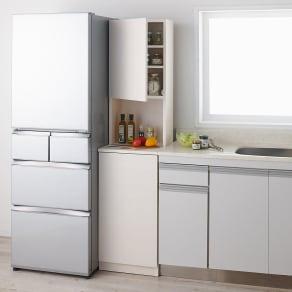 1cmピッチで幅が選べるキッチンすき間収納庫 ハイタイプ高さ180cm 扉タイプ(左開き) 【幅30~45cm】 写真