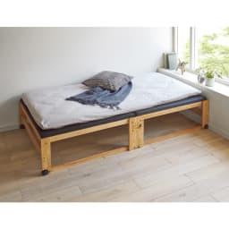 和モダン黒畳折りたたみベッド ハイタイプ(高さ40cm) 使い慣れたお手持ちの布団も敷いて使えます。 ※写真はワイドシングルです。