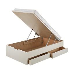 【シングル・西川ポケットマットレス付き】大容量引き出し&ガス圧跳ね上げ収納ベッド (ア)ホワイト ※写真はセミダブルです。