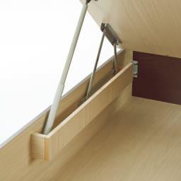ガス圧跳ね上げベッド(西川ベッドポケットコイルマットレス付き) 棚付き【セミダブル】 ダンパー部分はカバー付きで収納物を挟まず安心。
