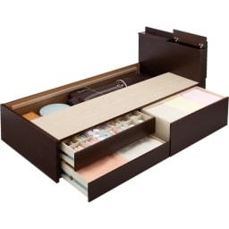 雑誌&フルオープン引き出し収納チェストベッド フレームのみ (床板取り外し時) ※写真はシングルタイプです。