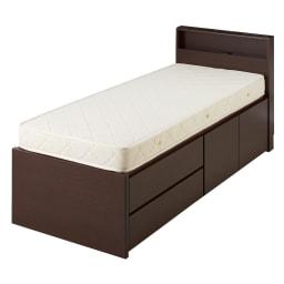 西川マットレス付き棚付省スペースベッド(ショート/レギュラー) (イ)ダークブラウン ※写真はショート・幅76cmです。
