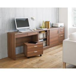 薄型ホームオフィス ワゴン 幅50cm コーディネート例(イ)ダークブラウン  ※お届けはワゴンです。
